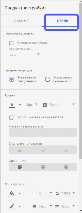 стили, цвета и шрифты Google Data Studio
