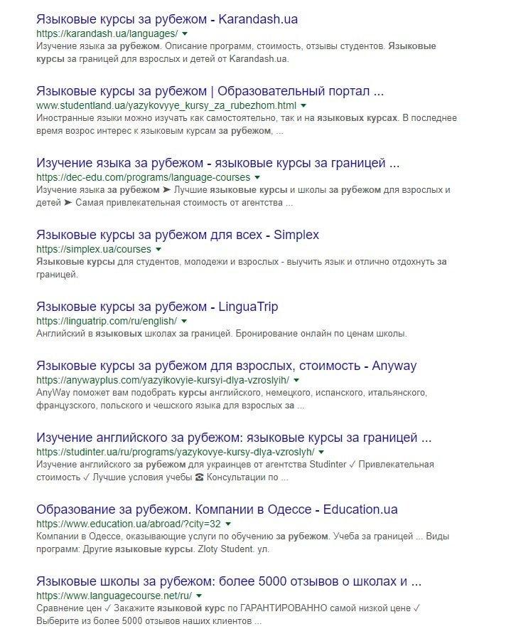 Анализ конкурентов в поисковой системе Гугл