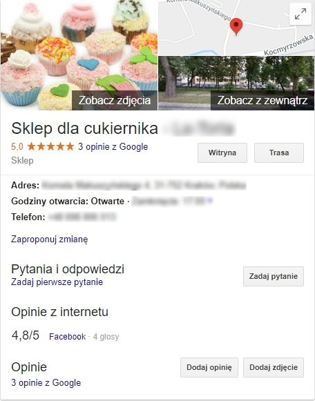 карточка в системе Google Business
