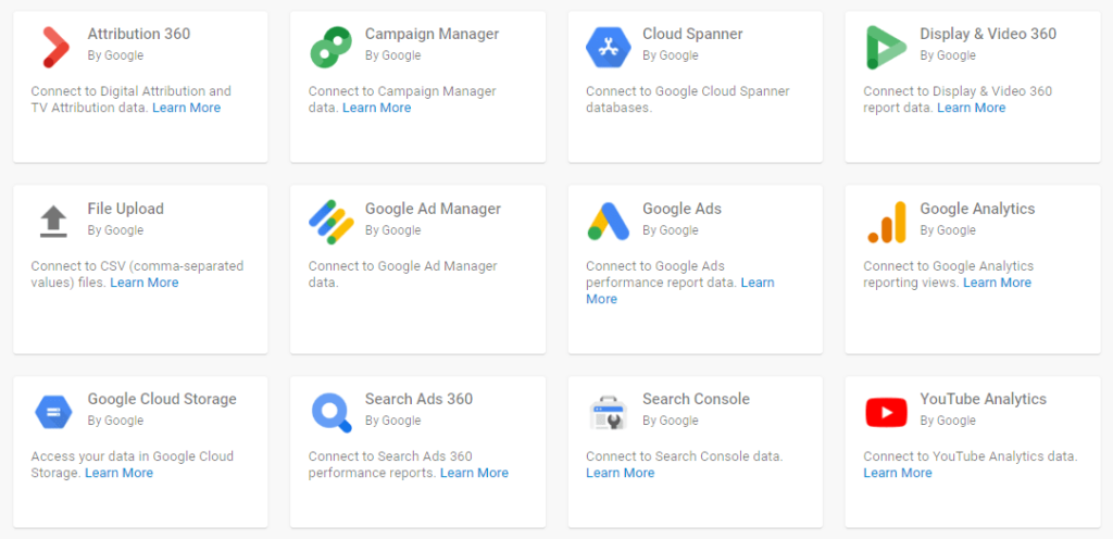 Google connectors для Data Studio