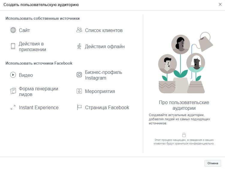 Пользовательские аудитории из собственных источников, Facebook и Instagram