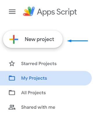 Новый проект в Apps Script