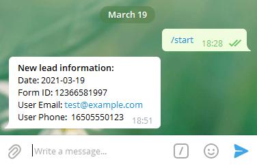 Сообщение о лиде в Telegram