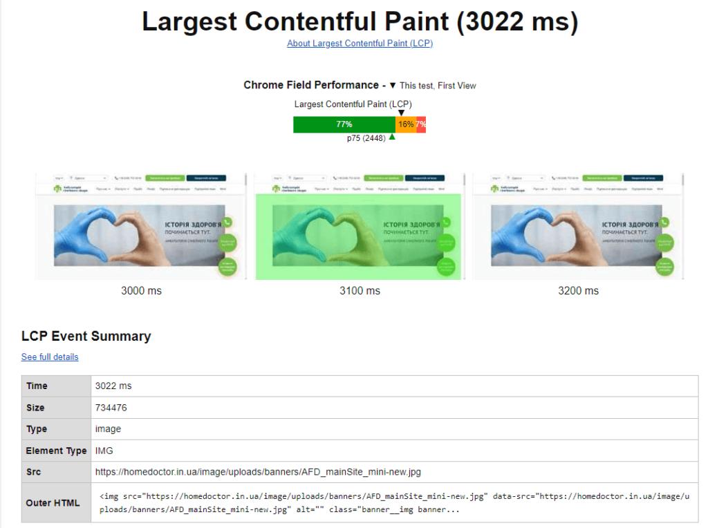 Самый крупный элемент страницы на WebPageTest